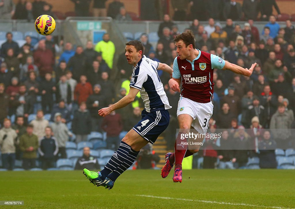 Ashley Barnes of Burnley heads in the opening goal during the Barclays Premier League match between Burnley and West Bromwich Albion at Turf Moor on February 8, 2015 in Burnley, England.