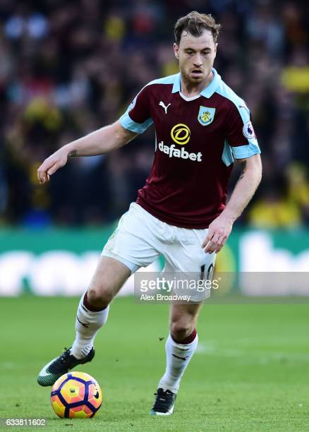 Ashley Barnes of Burnley in action during the Premier League match between Watford and Burnley at Vicarage Road on February 4 2017 in Watford England
