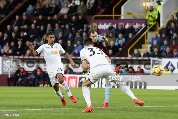 Ashley Barnes of Burnley scores his side's second goal during the Premier League match between Burnley and Swansea City at Turf Moor on November 18...