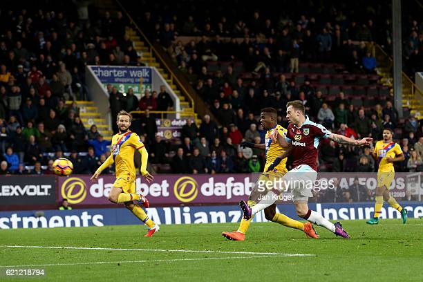 Ashley Barnes of Burnley scores his sides third goal during the Premier League match between Burnley and Crystal Palace at Turf Moor on November 5...