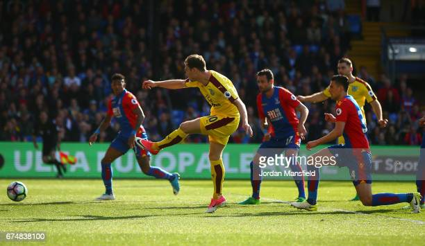 Ashley Barnes of Burnley scores the opening goal during the Premier League match between Crystal Palace and Burnley at Selhurst Park on April 29 2017...