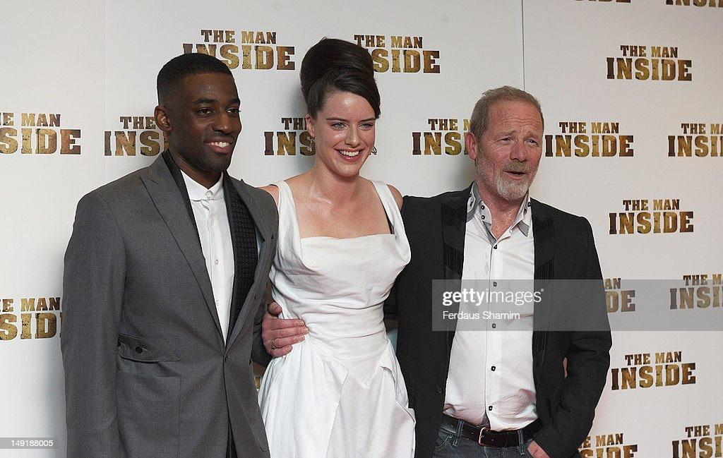 Ashley Bashy Thomas , Michelle Ryan and Peter Mullan attend the UK premiere of The Man Inside at Vue Leicester Square on July 24, 2012 in London, England.