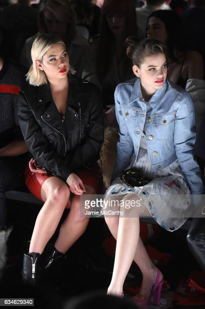 Ashley Benson and Barbara Palvin attend the Jeremy Scott collection Front Row during New York Fashion Week The Shows at Gallery 1 Skylight Clarkson...