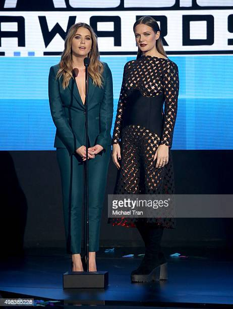 Ashley Benson and Tove Lo speak onstage at the 2015 American Music Awards at Microsoft Theater on November 22 2015 in Los Angeles California