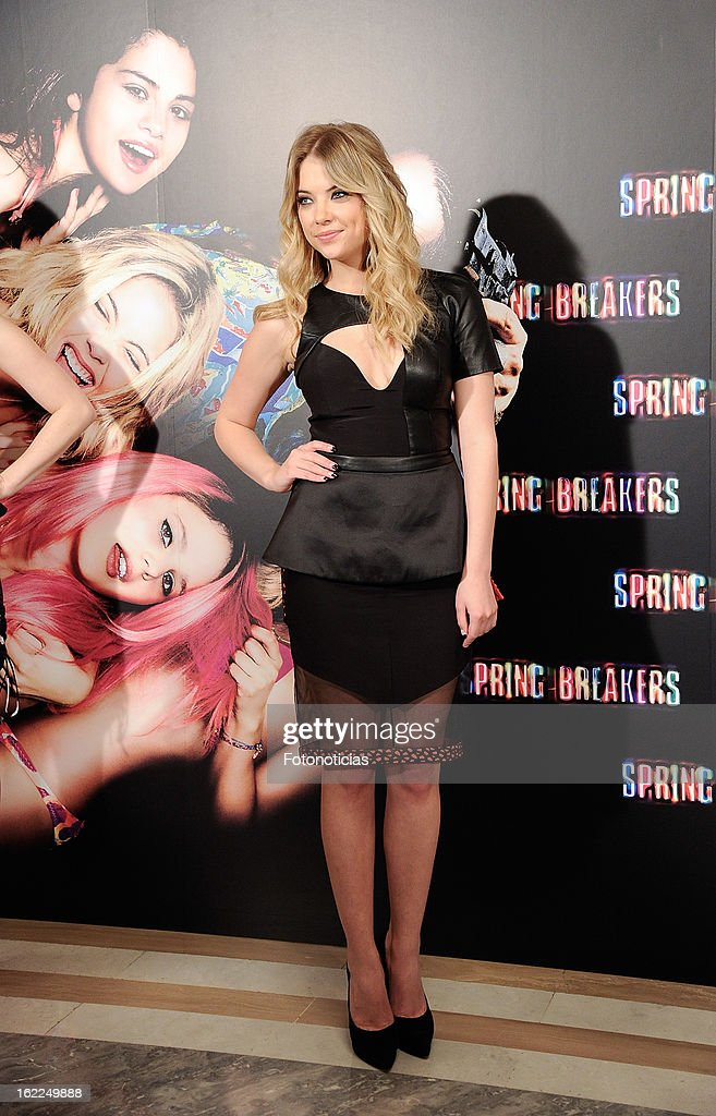 Ashley Benson attends a photocall for Spring Breakers at the Villamagna Hotel on February 21, 2013 in Madrid, Spain.