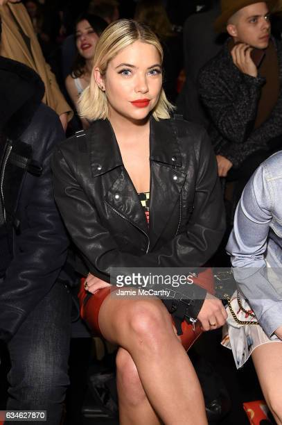 Ashley Benson attends the Jeremy Scott collection Front Row during New York Fashion Week The Shows at Gallery 1 Skylight Clarkson Sq on February 10...