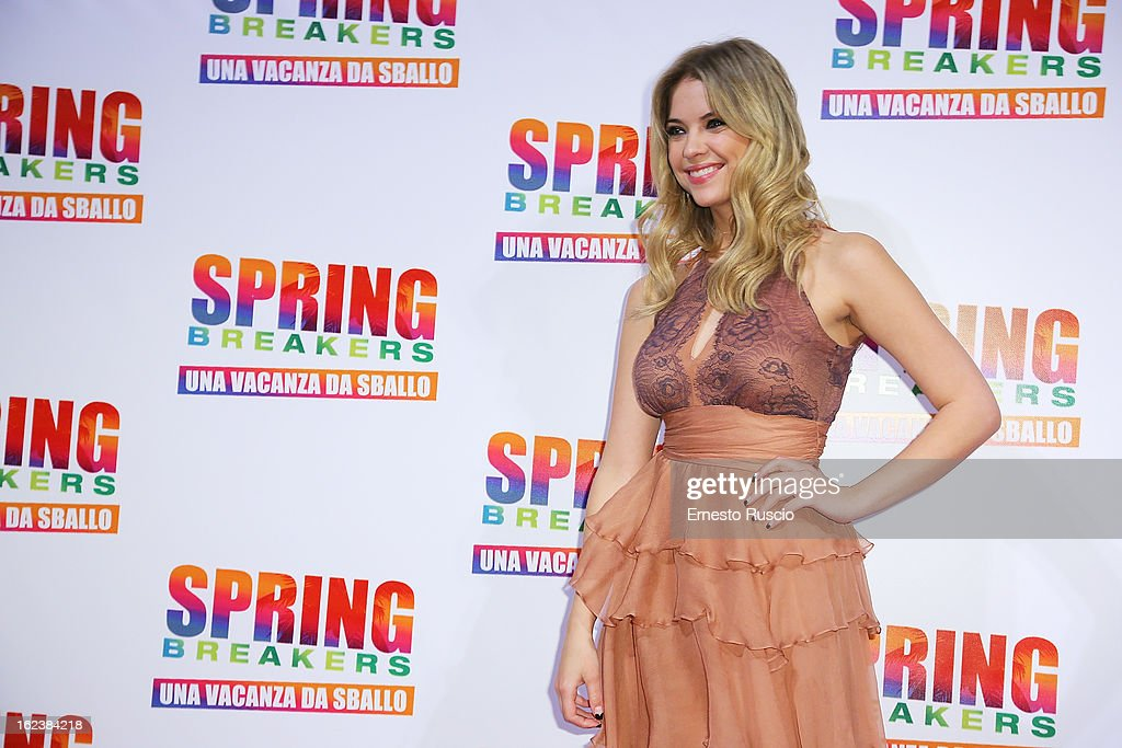 Ashley Benson attends the 'Spring Breakers' screening at Adiano Cinema on February 22, 2013 in Rome, Italy.