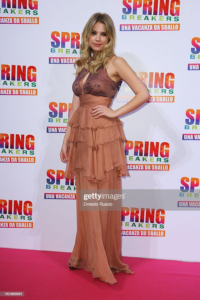 Ashley Benson attends the 'Spring Breakers' screening at Adriano Cinema on February 22, 2013 in Rome, Italy.