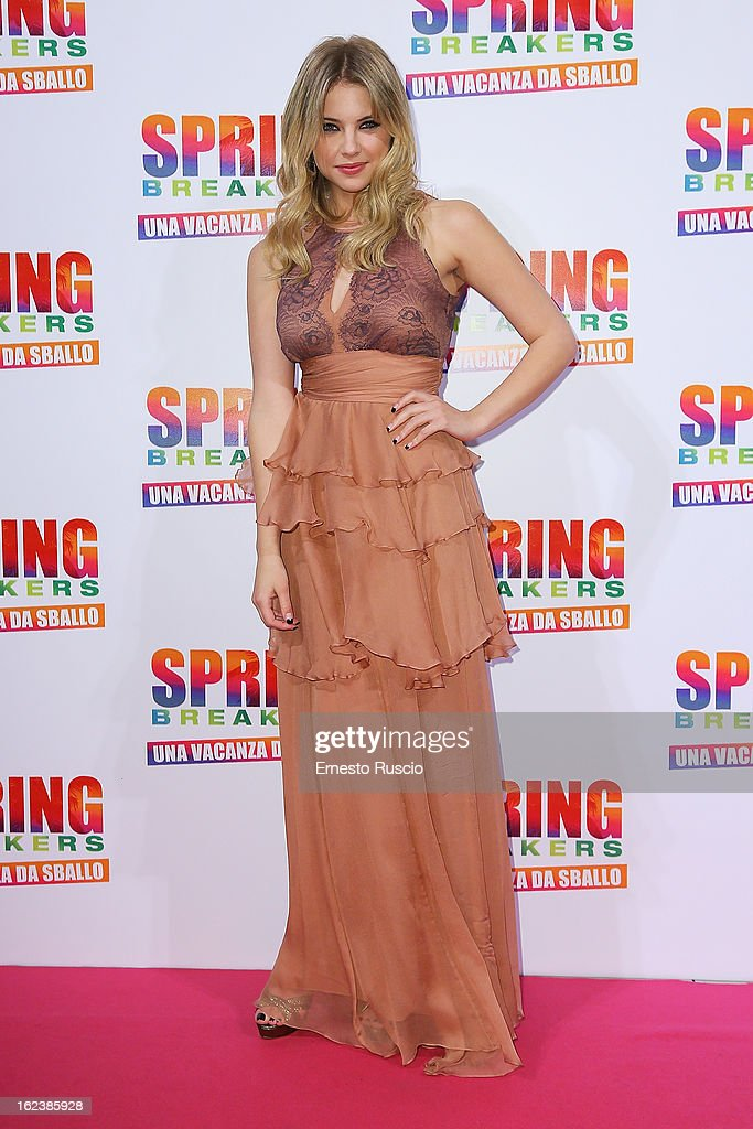 <a gi-track='captionPersonalityLinkClicked' href=/galleries/search?phrase=Ashley+Benson&family=editorial&specificpeople=594114 ng-click='$event.stopPropagation()'>Ashley Benson</a> attends the 'Spring Breakers' screening at Adriano Cinema on February 22, 2013 in Rome, Italy.