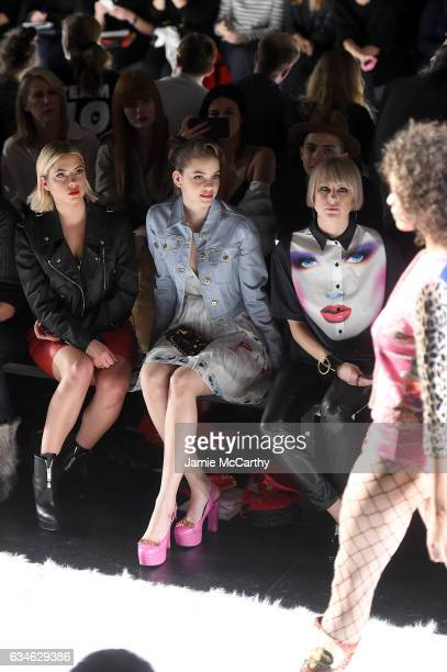 Ashley Benson Barbara Palvin and Sarah Barthel attend the Jeremy Scott collection Front Row during New York Fashion Week The Shows at Gallery 1...