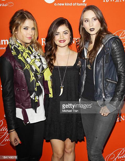 Ashley Benson Lucy Hale and Troian Bellisario arrive at the 'Pretty Little Liars' celebrates Halloween episode held at Hollywood Forever on October...