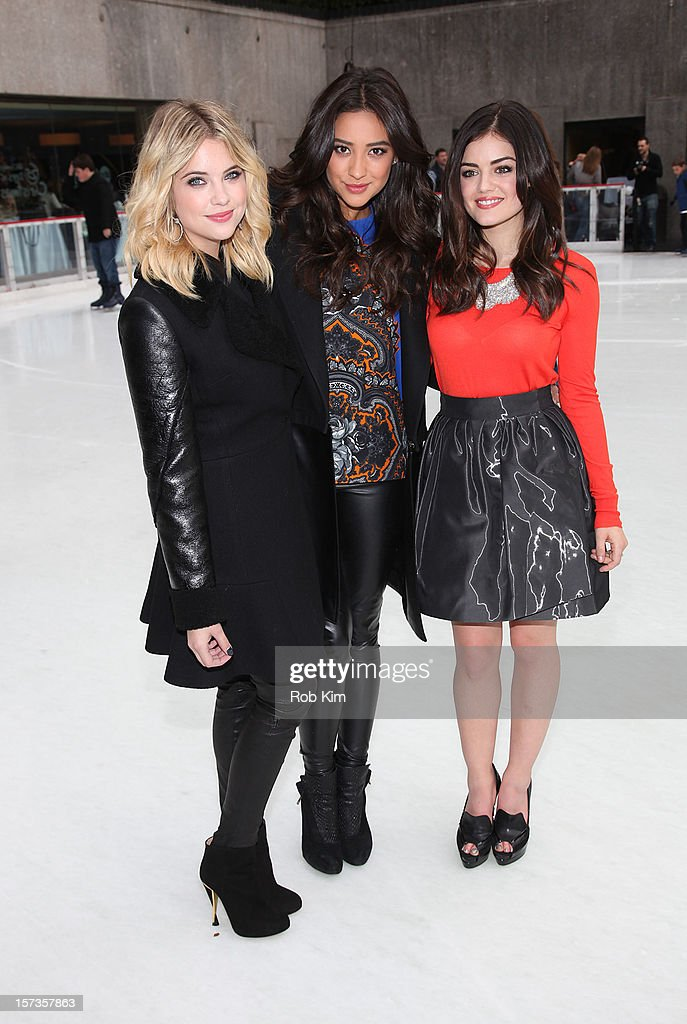 <a gi-track='captionPersonalityLinkClicked' href=/galleries/search?phrase=Ashley+Benson&family=editorial&specificpeople=594114 ng-click='$event.stopPropagation()'>Ashley Benson</a>, <a gi-track='captionPersonalityLinkClicked' href=/galleries/search?phrase=Shay+Mitchell&family=editorial&specificpeople=6886213 ng-click='$event.stopPropagation()'>Shay Mitchell</a> and <a gi-track='captionPersonalityLinkClicked' href=/galleries/search?phrase=Lucy+Hale&family=editorial&specificpeople=4430849 ng-click='$event.stopPropagation()'>Lucy Hale</a> of Pretty Little Liars attend ABC Family's '25 Days Of Christmas' Winter Wonderland event at Rockefeller Center on December 2, 2012 in New York City.