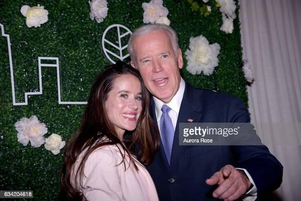 Ashley Biden and Joe Biden attend Gilt x Livelihood Launch Event at 6 St John's Lane on February 7 2017 in New York City