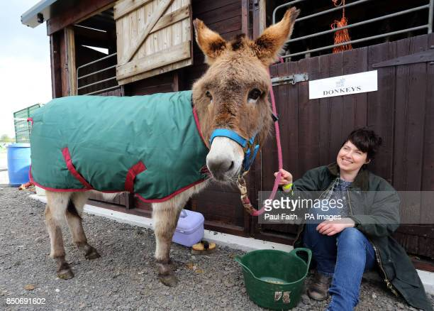 Ashley Brown from Saintfield in Co Down with her Donkey Lady on the first day of the Balmoral show at its new site the former Maze prison outside...