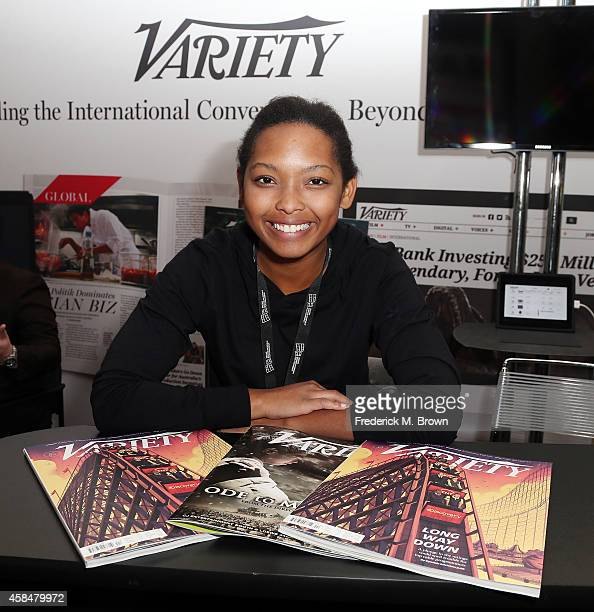 Ashley Brown of Variety attends The 2014 American Film Market at the Loews Santa Monica Beach Hotel on November 5 2014 in Santa Monica California