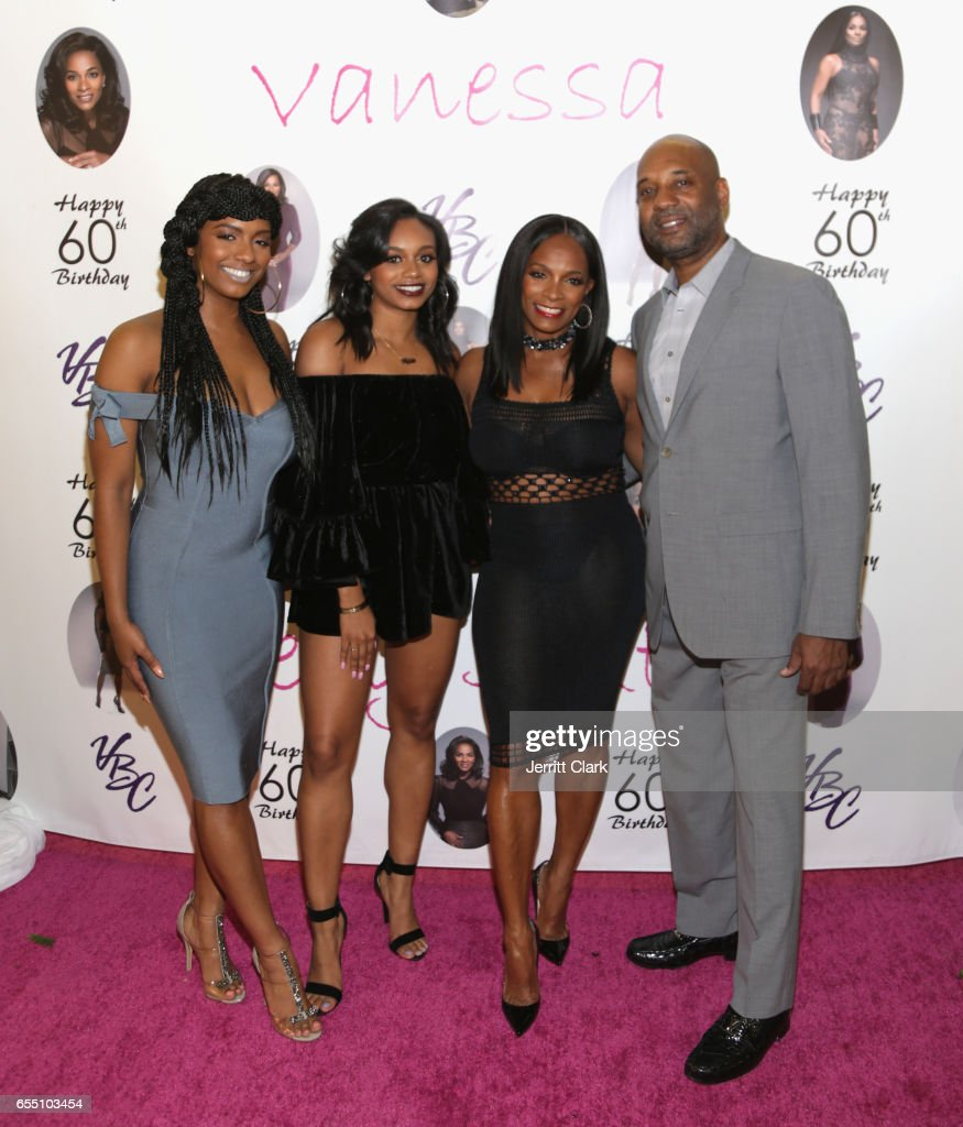 Ashley Calloway, Alexandra Calloway, Vanessa Bell Calloway and Tony Calloway attend Vanessa Bell Calloway's 60th Birthday Bash at Cicada on March 18, 2017 in Los Angeles, California.