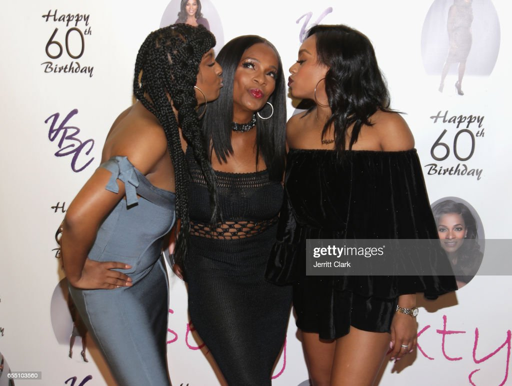 Ashley Calloway, Vanessa Bell Calloway and Alexandra Calloway attend Vanessa Bell Calloway's 60th Birthday Bash at Cicada on March 18, 2017 in Los Angeles, California.