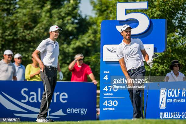 Ashley Chesters of England and Edoardo Molinari of Italy are seen during day two of the Saltire Energy Paul Lawrie Matchplay at Golf Resort Bad...