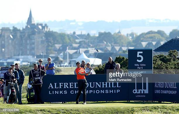 Ashley Chesters of England drives off the fifth tee during the second round of the 2015 Alfred Dunhill Links Championship at The Old Course on...