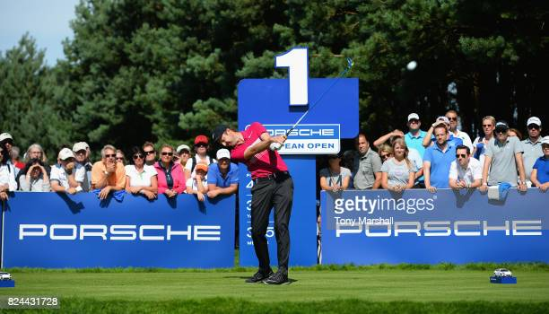 Ashley Chesters of England plays his first shot on the 1st tee during the Porsche European Open Day Four at Green Eagle Golf Course on July 30 2017...