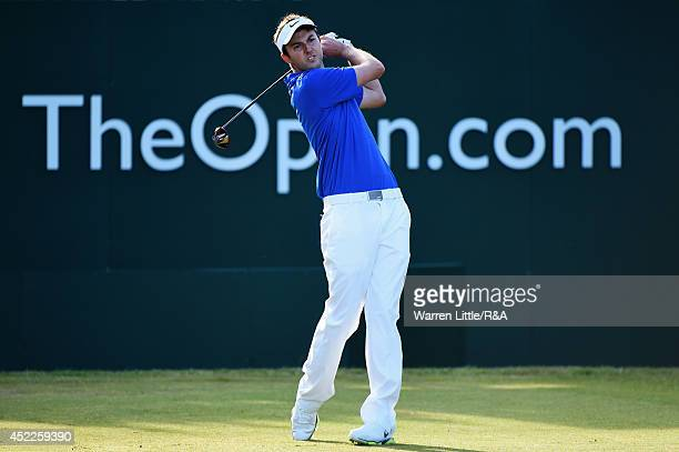 Ashley Chesters of England tees off at the first hole during the first round of The 143rd Open Championship at Royal Liverpool on July 17 2014 in...