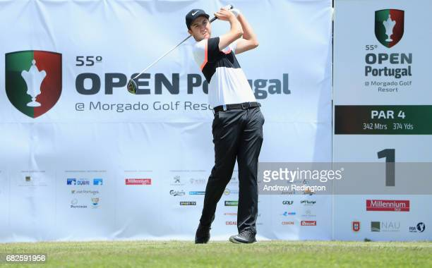 Ashley Chesters of England tees off on the 1st hole during day three of the Open de Portugal at Morgado Golf Resort on May 13 2017 in Portimao...