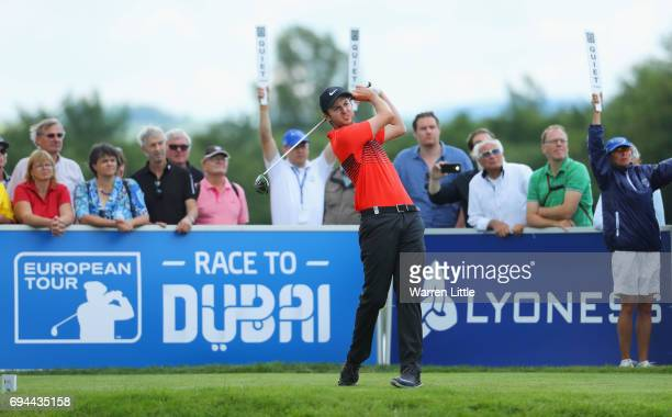 Ashley Chesters of England tees off on the 8th hole during day three of the Lyoness Open at Diamond Country Club on June 10 2017 in Atzenbrugg Austria