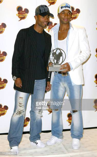 Ashley Cole and Jermaine Pennant of Arsenal during 2004 Disney Channel Kids Awards Press Room at Royal Albert Hall in London in London Great Britain