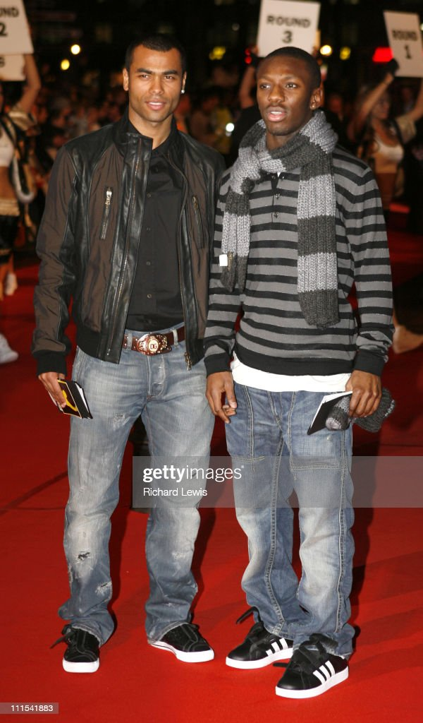 Ashley Cole and Shaun WrightPhillips during 'Rocky Balboa' London Premiere Red Carpet Arrivals at Vue West End in London United Kingdom
