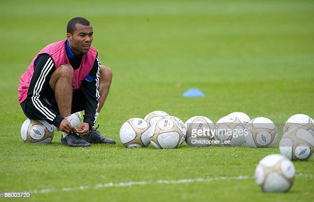 Ashley Cole during the Chelsea Football Club Training Session held at their Cobham Training Ground on May 27 2009 in Cobham England