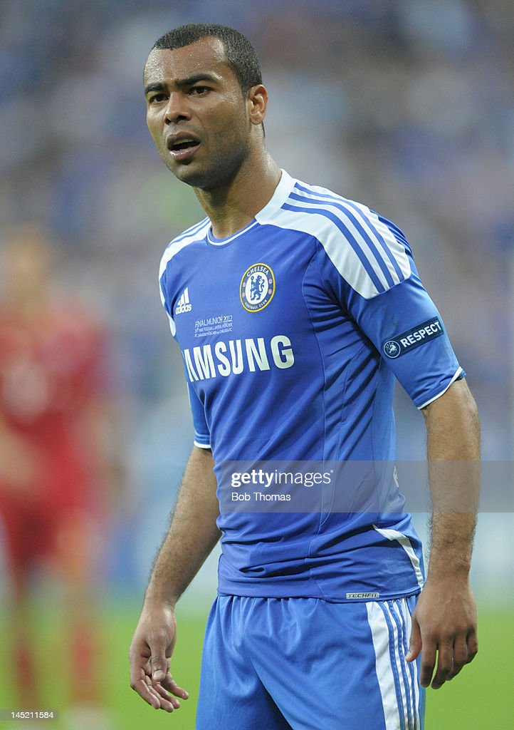 Ashley Cole in action for Chelsea during the UEFA Champions League Final between FC Bayern Munich and Chelsea at the Fussball Arena Munich on May 19, 2012 in Munich, Germany. The match ended 1-1 after extra time, Chelsea won 4-3 on penalties.