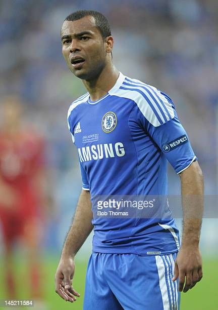 Ashley Cole in action for Chelsea during the UEFA Champions League Final between FC Bayern Munich and Chelsea at the Fussball Arena Munich on May 19...