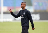 Ashley Cole leaves an England training session during UEFA Euro 2012 on June 13 2012 in Krakow Poland