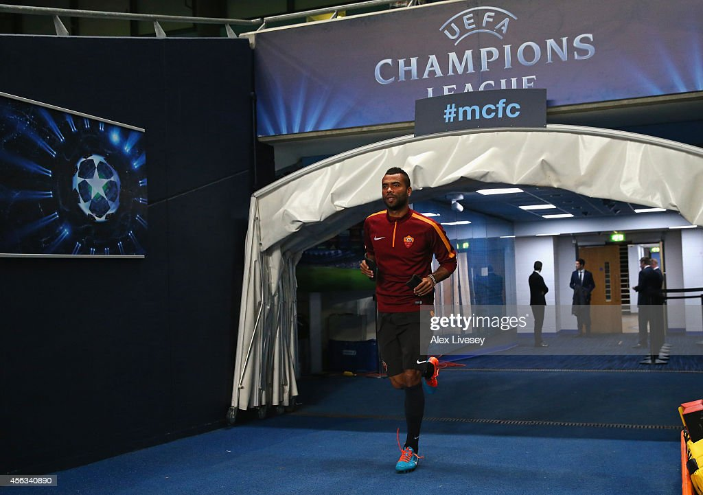 Ashley Cole of AS Roma runs out for a training session at Etihad Stadium on September 29 2014 in Manchester England