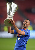 Ashley Cole of Chelsea celebrates with the trophy during the UEFA Europa League Final between SL Benfica and Chelsea FC at Amsterdam Arena on May 15...