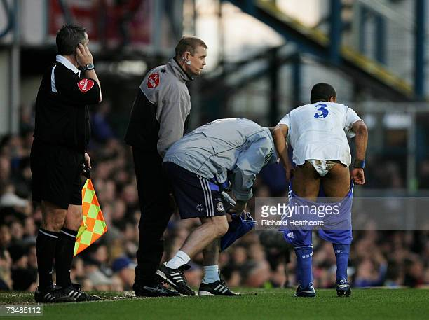 Ashley Cole of Chelsea changes his shorts in the first half during the Barclays Premiership match between Portsmouth and Chelsea at Fratton Park on...