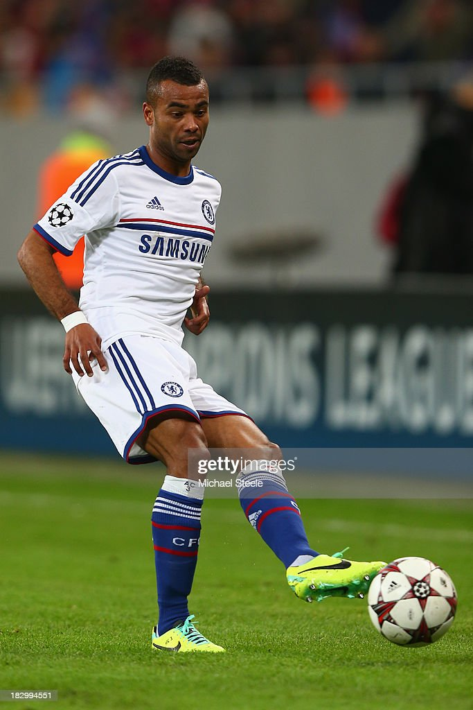 Ashley Cole of Chelsea during the UEFA Champions League Group E Match between FC Steaua Bucuresti and Chelsea at the National Arena Stadium on October 1, 2013 in Bucharest, Romania.