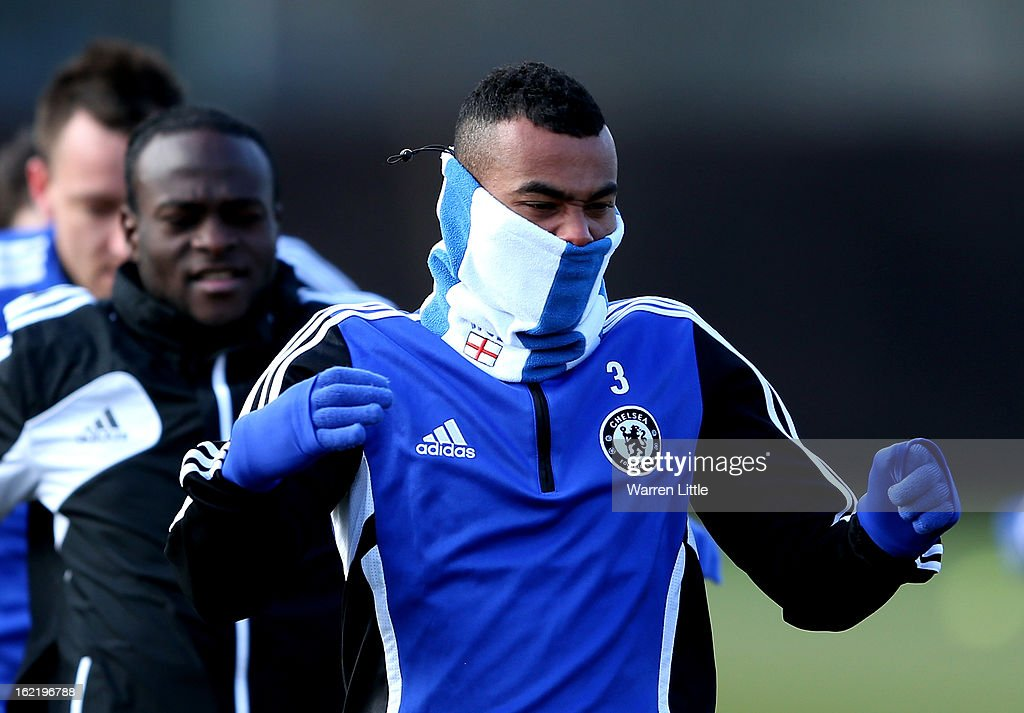 Ashley Cole of Chelsea in action during a training session at Cobham training ground on February 20, 2013 in Cobham, England.