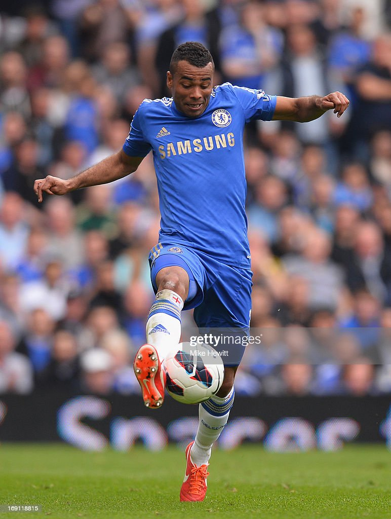 Ashley Cole of Chelsea in action during the Barclays Premier League match between Chelsea and Everton at Stamford Bridge on May 19, 2013 in London, England.