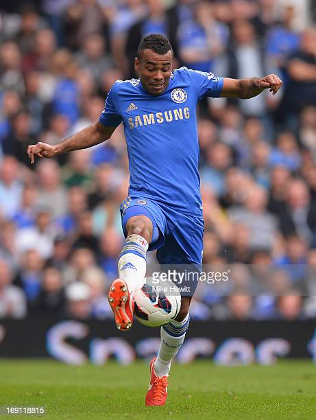 Ashley Cole of Chelsea in action during the Barclays Premier League match between Chelsea and Everton at Stamford Bridge on May 19 2013 in London...