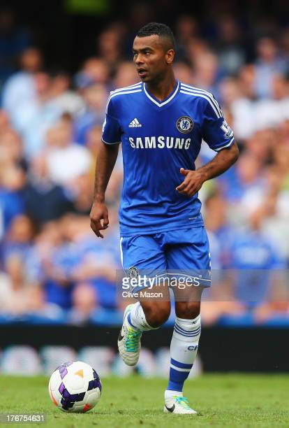 Ashley Cole of Chelsea in action during the Barclays Premier League match between Chelsea and Hull City at Stamford Bridge on August 18 2013 in...