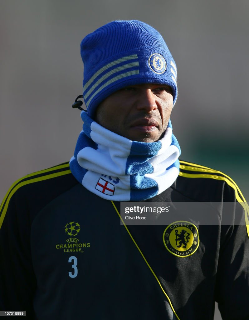 Ashley Cole of Chelsea looks on during a training session at Cobham training ground on December 4 2012 in London England
