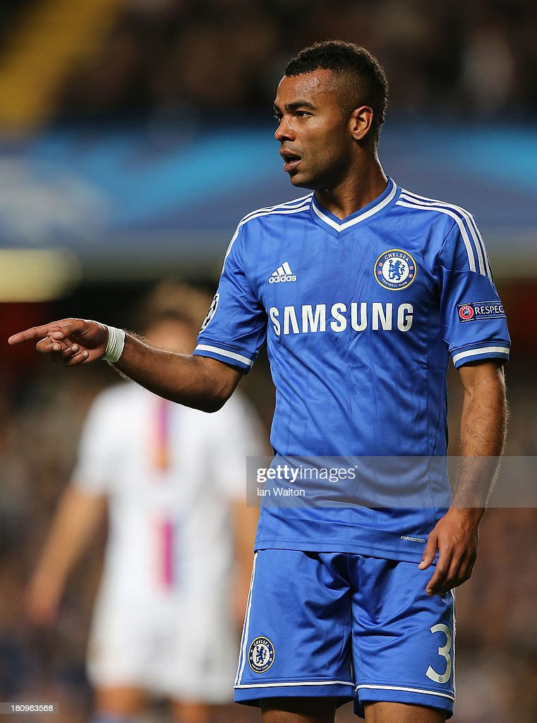 Ashley Cole of Chelsea looks on during the UEFA Champions League Group E Match between Chelsea and FC Basel at Stamford Bridge on September 18, 2013 in London, England.