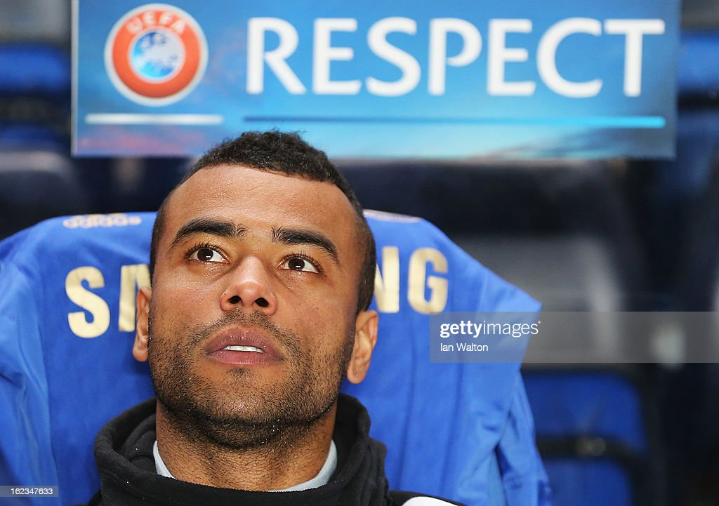 Ashley Cole of Chelsea looks on prior to the UEFA Europa League Round of 32 second leg match between Chelsea and Sparta Praha at Stamford Bridge on February 21, 2013 in London, England.