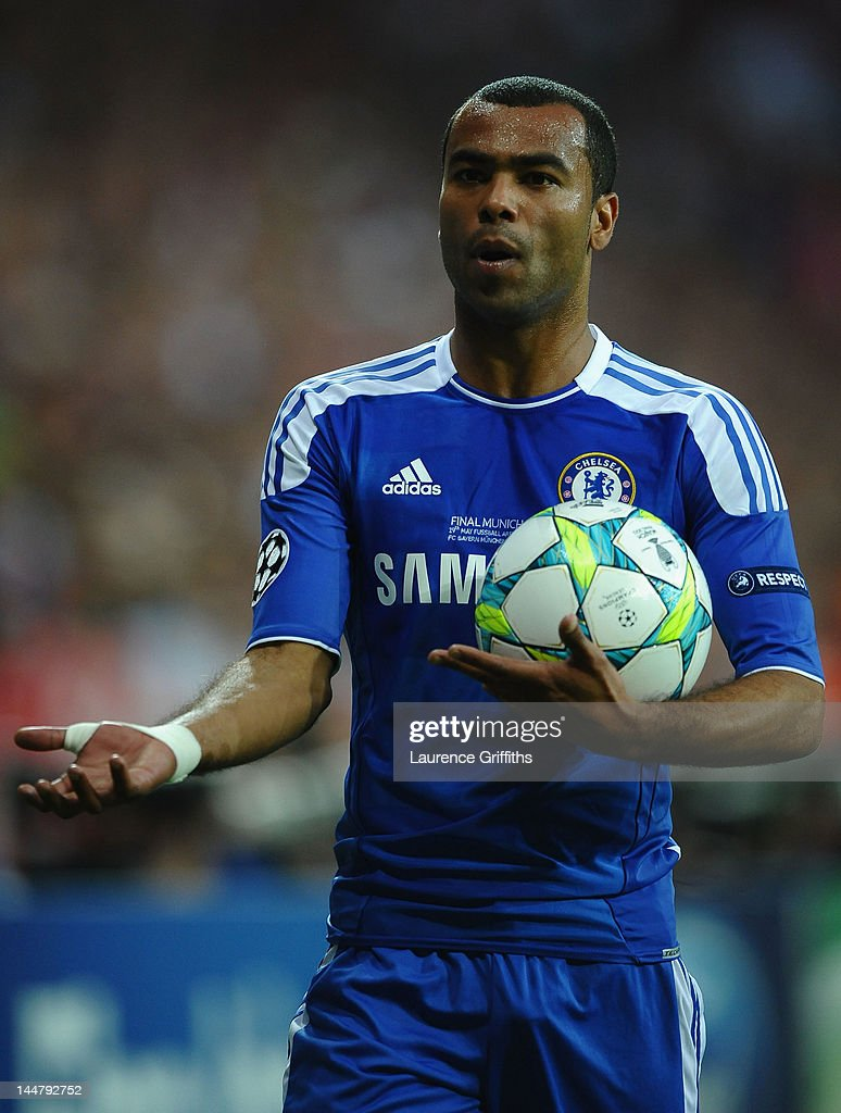 Ashley Cole of Chelsea reacts during UEFA Champions League Final between FC Bayern Muenchen and Chelsea at the Fussball Arena München on May 19, 2012 in Munich, Germany.