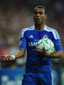 Ashley Cole of Chelsea reacts during UEFA Champions League Final between FC Bayern Muenchen and Chelsea at the Fussball Arena München on May 19 2012...