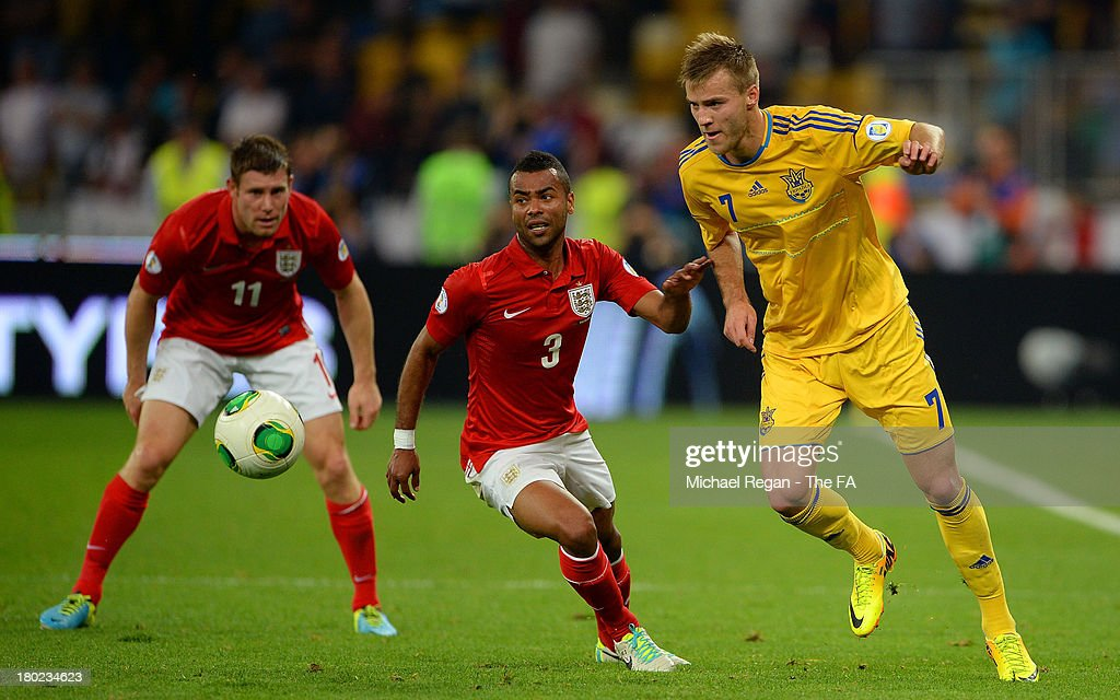 Ashley Cole of England and Andriy Yarmolenko of Ukraine compete for the ball during the FIFA 2014 World Cup Qualifying Group H match between Ukraine and England at the Olympic Stadium on September 10, 2013 in Kiev, Ukraine.