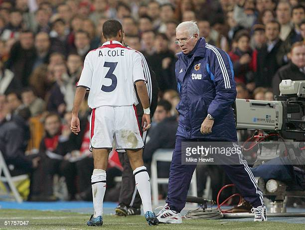 Ashley Cole of England argues with Luis Aragones of Spain during the international friendly match between Spain and England on November 17 2004 at...