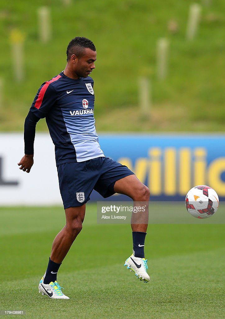 Ashley Cole of England controls the ball during a training session at St Georges Park on September 3, 2013 in Burton-upon-Trent, England.