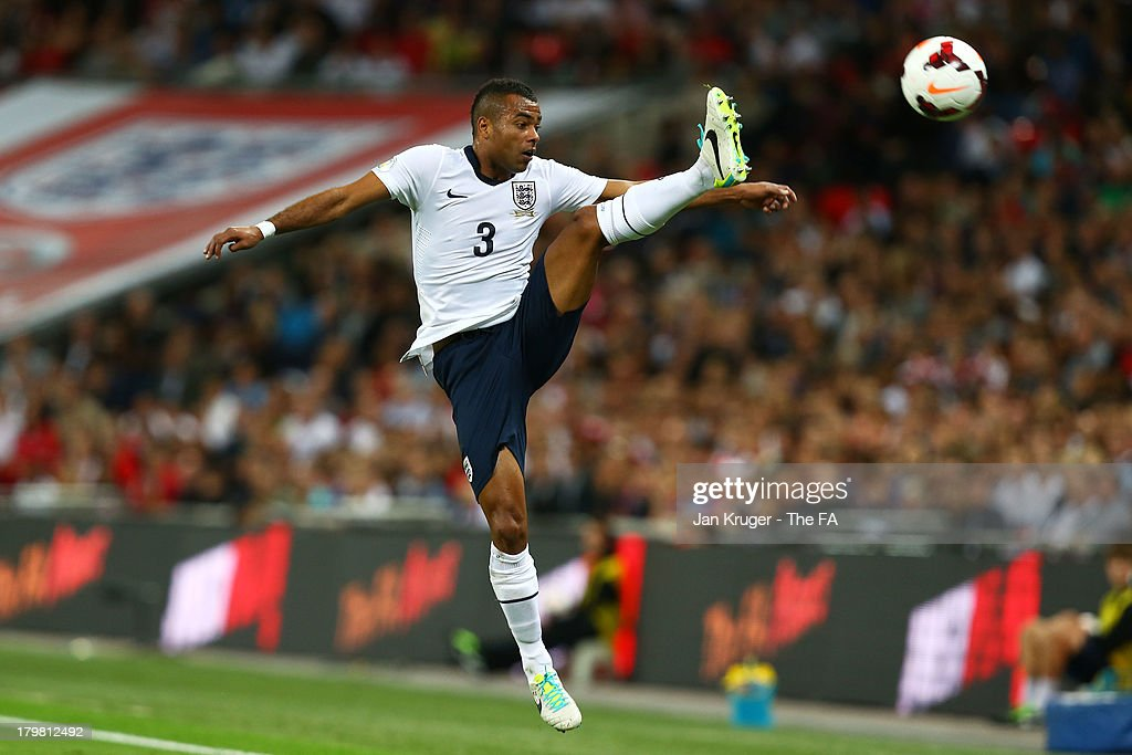 Ashley Cole of England controls the ball during the FIFA 2014 World Cup Qualifying Group H match between England and Moldova at Wembley Stadium on September 6, 2013 in London, England.